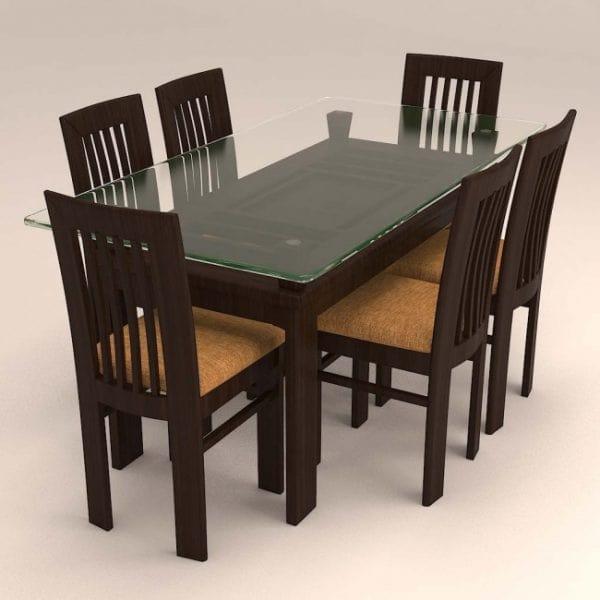 ADELLA – WOODEN DINING SET ( 1 + 6 )-min