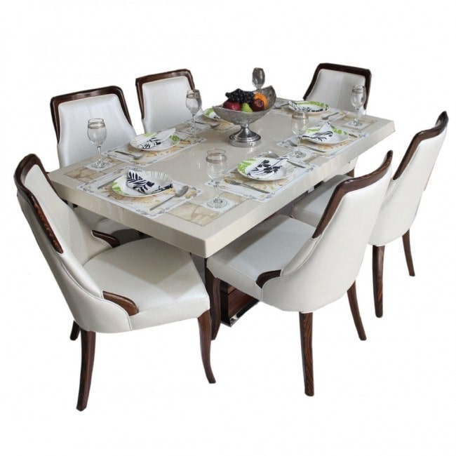 DIANA – MARBLE TOP DINING SET ( 1 + 6 )-min