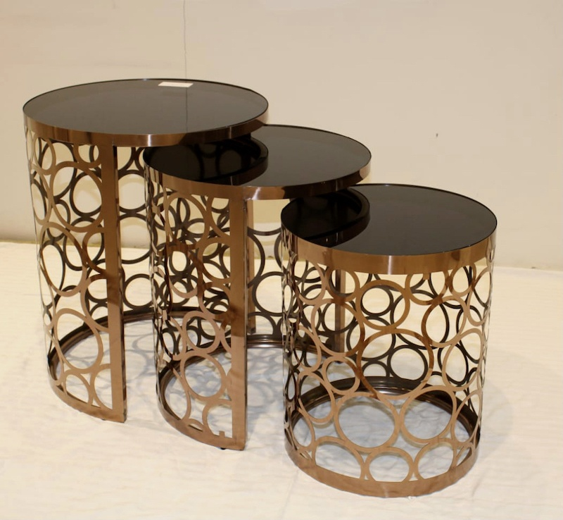 brown glass top centre table